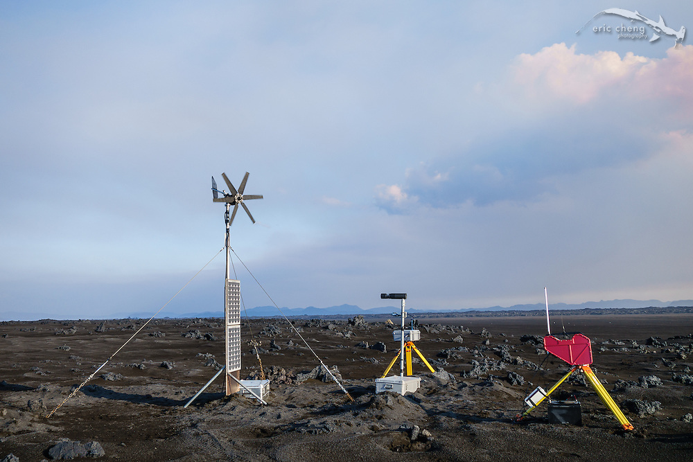 Volcanic and seismic monitoring equipment near the eruption site. Holuhraun eruption, Bardarbunga volcanic system, Iceland.
