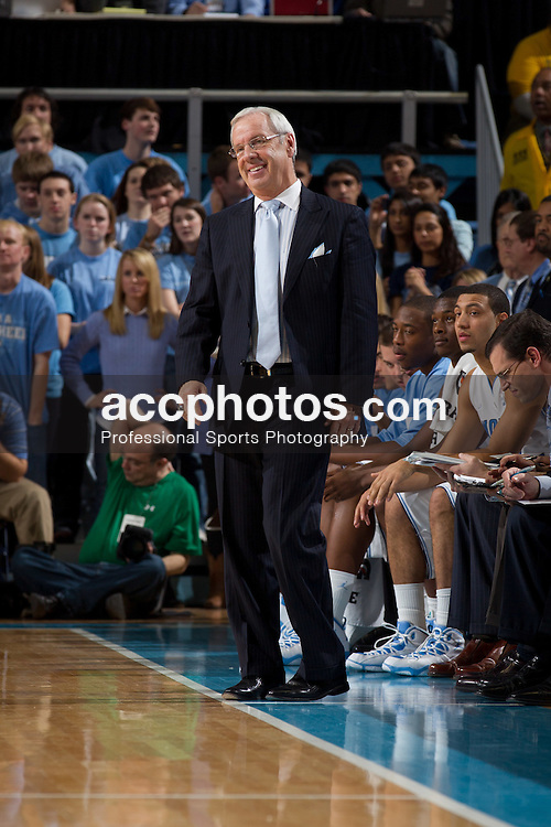 CHAPEL HILL, NC - JANUARY 18: Roy Williams of the North Carolina Tar Heels coaches his laughs while playing the Clemson Tigers on January 18, 2011 at the Dean E. Smith Center in Chapel Hill, North Carolina. North Carolina won 65-75. (Photo by Peyton Williams/UNC/Getty Images) *** Local Caption *** Roy Williams