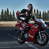 Canadian National MiniRoad Racing 2016 Champion, Robyn Ham with her Spec Supersport 2 stroke, 50cc at the 3 Flags Motorsport Park just ouside of Lumsden, SK.