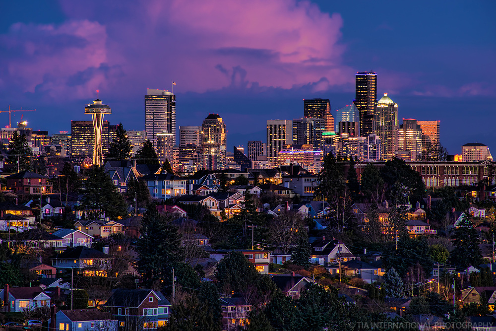 Seattle Skyline above Magnolia @ Dusk