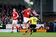 Nottingham Forest defender Eric Lichaj (2) heads the ball during the EFL Sky Bet Championship match between Burton Albion and Nottingham Forest at the Pirelli Stadium, Burton upon Trent, England on 11 March 2017. Photo by Jon Hobley.