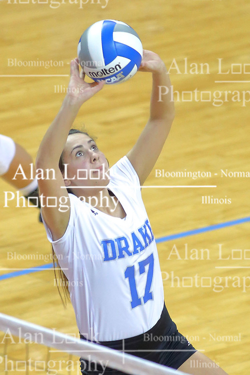 23 November 2017:  Paige Aspinwall makes a set during a college women's volleyball match between the Drake Bulldogs and the Indiana State Sycamores in the Missouri Valley Conference Tournament at Redbird Arena in Normal IL (Photo by Alan Look)