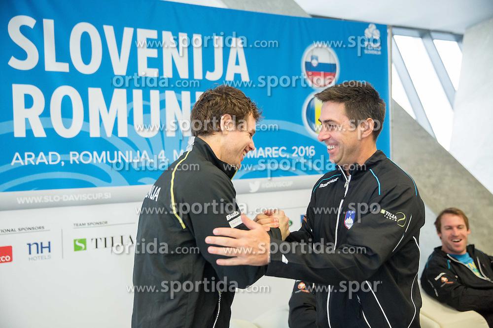Blaz Kavcic and Ziga Janskovec during press conference of Slovenian Men Tennis Team for Davis Cup Romania vs Slovenia competition, on February 24, 2016 in Kristalna palaca, Ljubljana, Slovenia. Photo by Vid Ponikvar / Sportida
