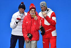 BAUCHET_Arthur, Podium, GMUR Theo LW9-1 SUI, SALCHER Markus LW9-1 AUT, ParaSkiAlpin, Para Alpine Skiing, Downhill, Descente, Podium at PyeongChang2018 Winter Paralympic Games, South Korea.