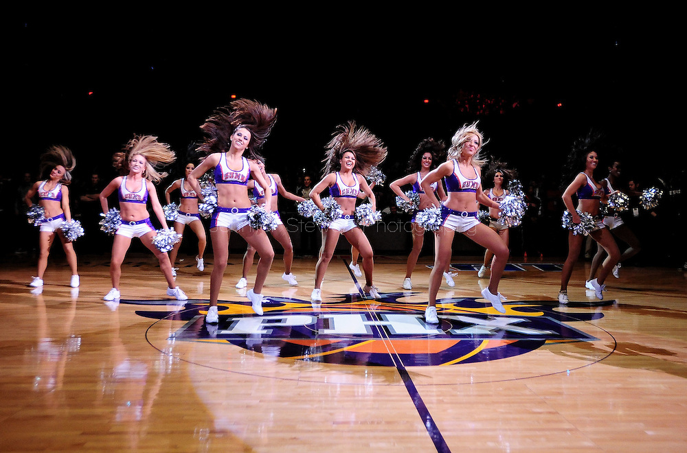 Jan. 7 2011; Phoenix, AZ, USA; Phoenix Suns dancers perform during the first half while playing the New York Knicks at the US Airways Center. Mandatory Credit: Jennifer Stewart-US PRESSWIRE.