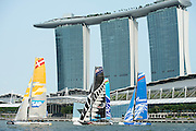 SAP, Emirates Team New Zealand, The Wave and Gazprom Team Russia. Day two of the Extreme Sailing Series regatta being sailed in Singapore. 21/2/2014
