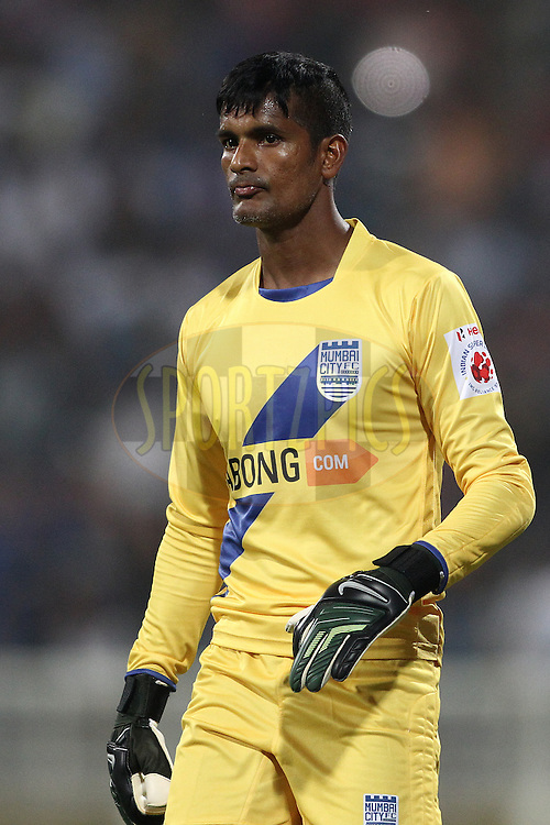 Subrata Paul of Mumbai City FC during match 6 of the Hero Indian Super League between Mumbai City FC and FC Pune City held at the D.Y. Patil Stadium, Navi Mumbai, India on the 18th October 2014.<br /> <br /> Photo by:  Shaun Roy/ ISL/ SPORTZPICS