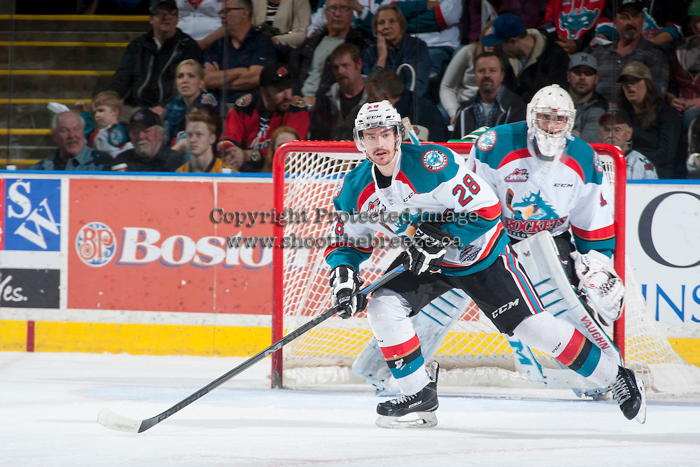 KELOWNA, CANADA - MAY 13: Joe Gatenby #28 of Kelowna Rockets skates against the Brandon Wheat Kings on May 13, 2015 during game 4 of the WHL final series at Prospera Place in Kelowna, British Columbia, Canada.  (Photo by Marissa Baecker/Shoot the Breeze)  *** Local Caption *** Joe Gatenby;