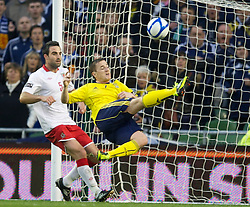 DUBLIN, REPUBLIC OF IRELAND - Wednesday, May 25, 2011: Wales' Craig Morgan and Scotland's Ross McCormack during the Carling Nations Cup match at the Aviva Stadium (Lansdowne Road). (Photo by David Rawcliffe/Propaganda)