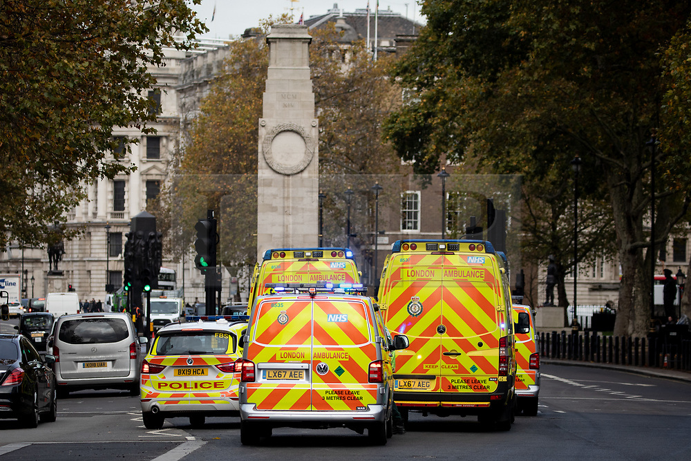© Licensed to London News Pictures. 04/11/2019. London, UK. The scene on Whitehall where is has been reported that emergency services are investigating a suspicious package in the Parliamentary office of Liberal Democrat leader Jo Swinson. Photo credit : Tom Nicholson/LNP
