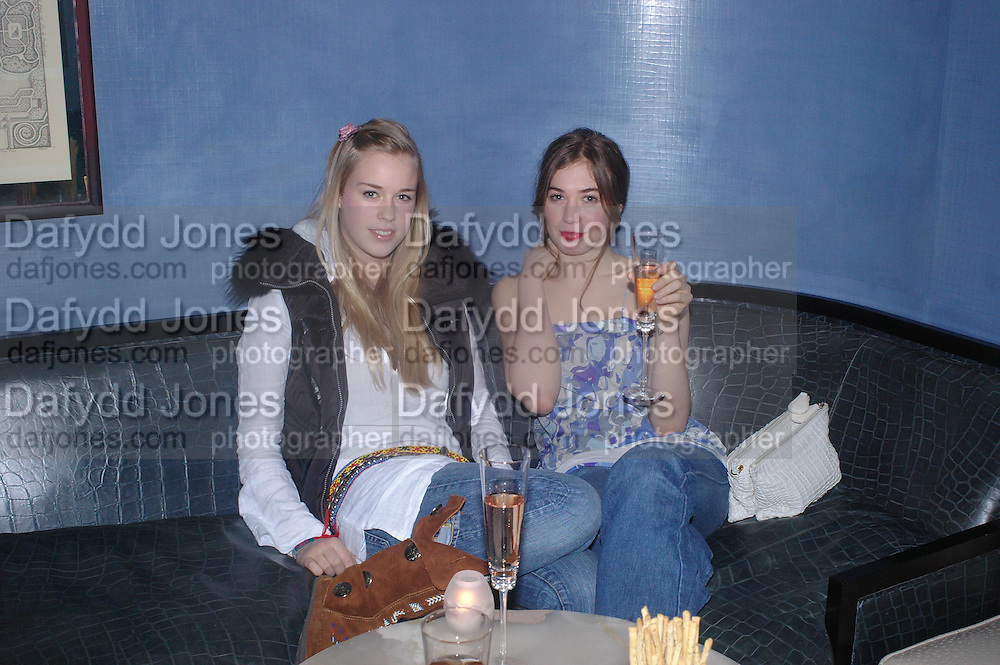 Mary Charteris and Anouskha Beckwith. Zac Posen Spring/ Summer collection launch party. The Blue Bar, Berkeley Hotel. London. 7 March 2004.  ONE TIME USE ONLY - DO NOT ARCHIVE  © Copyright Photograph by Dafydd Jones 66 Stockwell Park Rd. London SW9 0DA Tel 020 7733 0108 www.dafjones.com