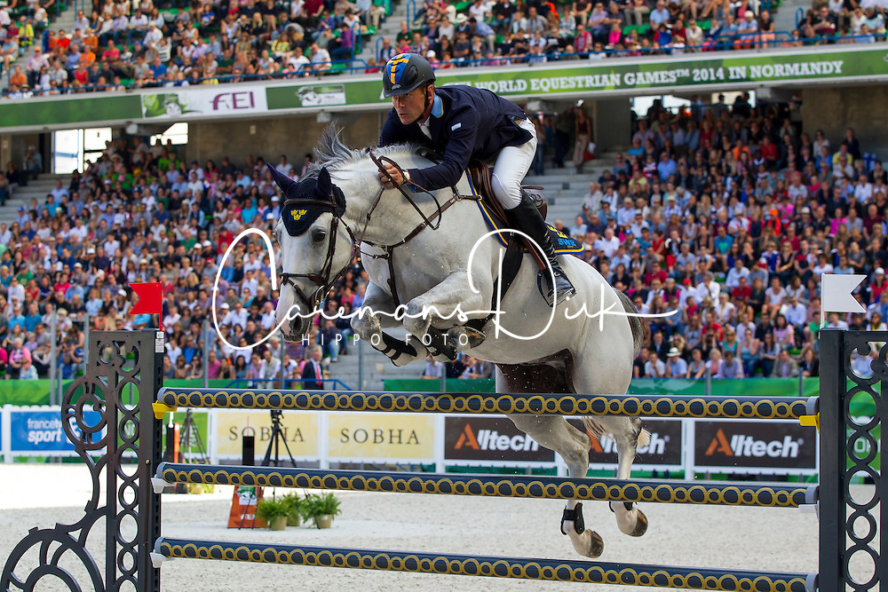 Peder Fredricson, (SWE), H&M Sibon - World Champions, - Second Round Team Competition - Alltech FEI World Equestrian Games™ 2014 - Normandy, France.<br /> © Hippo Foto Team - Leanjo De Koster<br /> 25/06/14