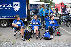 Lensworld Kuota Cycling Team riders support their team mates from the comfort of their chairs during the prologue of the Ladies Tour of Norway - a 3.4 km time trial, starting and finishing in Halden on August 17, 2017, in Ostfold, Norway. (Photo by Balint Hamvas/Velofocus.com)