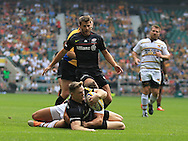 Chris Ashton of Saracens scores  during the Aviva Premiership match at Twickenham stadium, London<br />