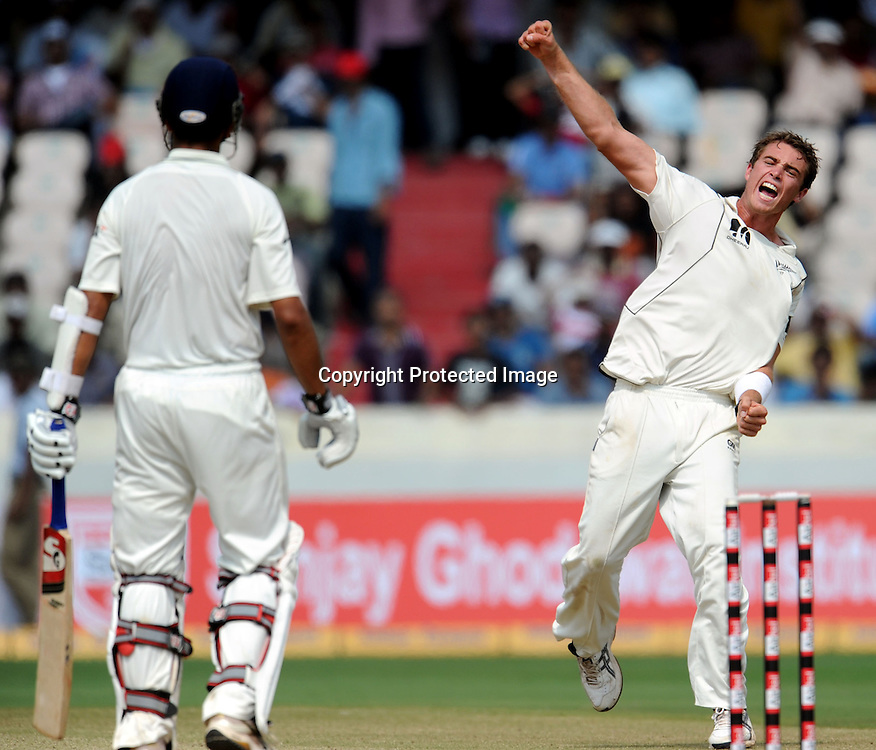 New Zealand bowler Tim Southee celebrates Indian batsman Rahul Dravid wicket during the 3rd day of the 2nd test match India vs New Zealand Played at Rajiv Gandhi International Stadium, Uppal, Hyderabad 14, November 2010 (5-day match)