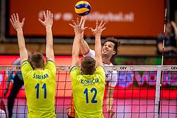 20-05-2018 NED: Netherlands - Slovenia, Doetinchem<br /> First match Golden European League / Maarten van Garderen #3 of Netherlands, Saso Stalekar #11 of Slovenia, Jan Klobucar #12 of Slovenia