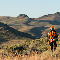 biggame hunter hunting for deer with rifle