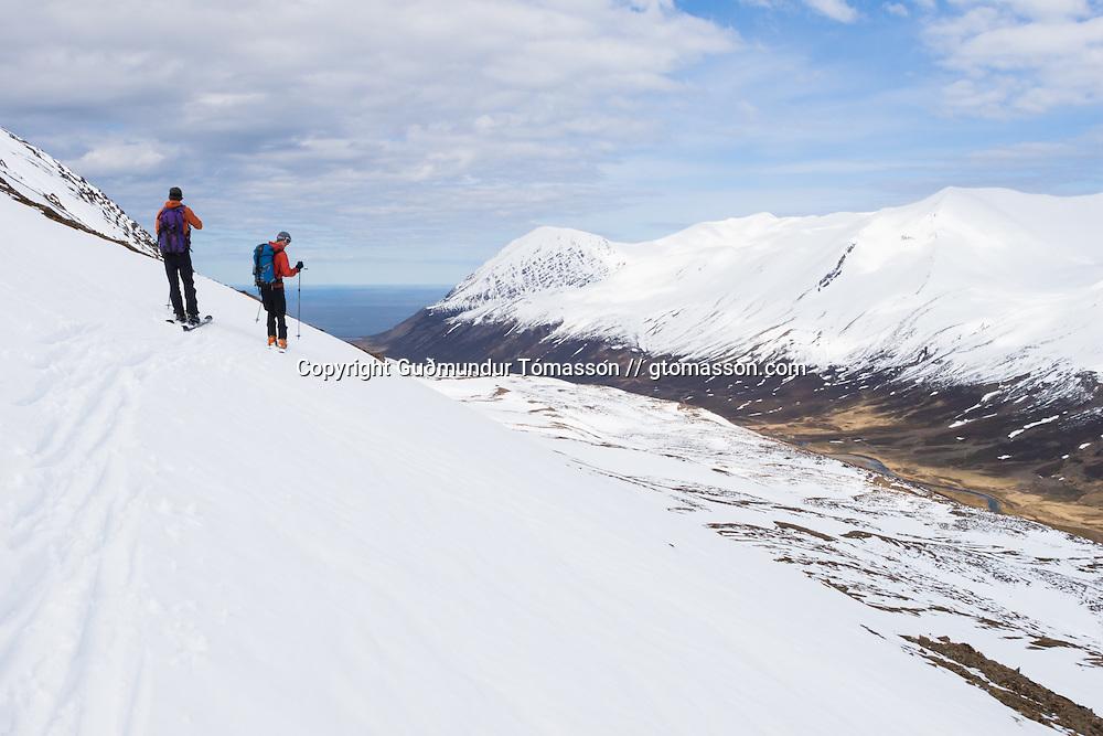Styrmir Steingrímsson and Jökull Bergmann skiing mt. Darri 748m. Hvalvatnsfjörður, Iceland.