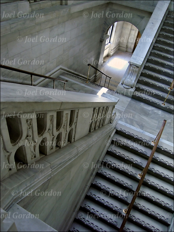 Up and down interior stairs in the Fifth Avenue brance of the New York Public Library.