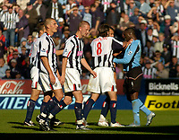 Photo. Glyn Thomas. Digitalsport<br /> West Bromwich Albion v Fulham. <br /> Barclays Premiership. 18/09/2004.<br /> West Brom players turn on Andy Cole (R) after the home side's Neil Clement was shown the red card. Cole was also then shown the red card.