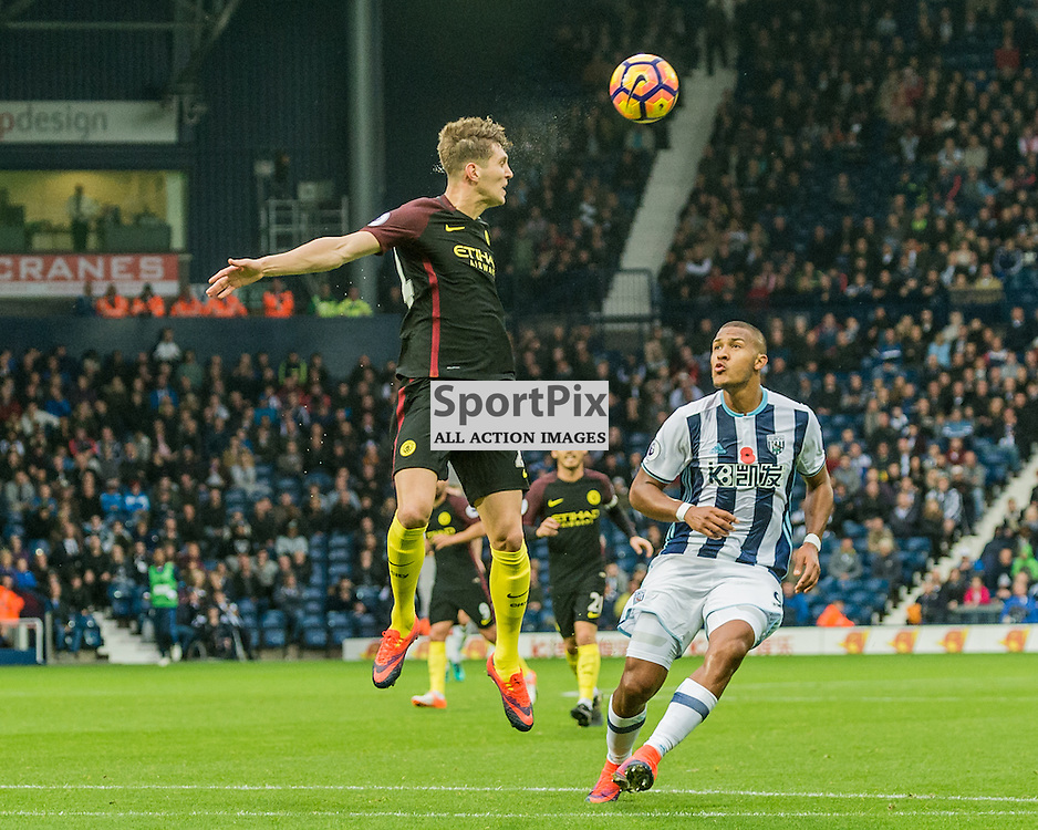 Manchester City defender John Stones (24) wins a header in the Premier League match between West Bromwich Albion and Manchester City <br /> <br /> (c) John Baguley | SportPix.org.uk