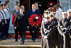 Nick Clegg and Prime minister David Cameron during the annual Remembrance Sunday Service at the Cenotaph, Whitehall, London, United Kingdom. Sunday, 10th November 2013. Picture by i-Images