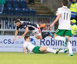 Hibernian's Paul Hanlon in on Falkirk's Rory Loy.<br /> haft time ; Falkirk 0 v 0 Hibernian, Scottish Championship game played 6/12/2014 at The Falkirk Stadium .