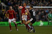 \controlled by Nottingham Forest forward Dexter Blackstock  during the The FA Cup fourth round match between Nottingham Forest and Watford at the City Ground, Nottingham, England on 30 January 2016. Photo by Simon Davies.