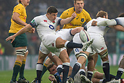 Twickenham, Surrey. UK. Ben YOUNGS working behind the scrum, clears the ball, during the <br /> England VS Australia, Autumn International. Old Mutual Wealth Series. RFU Stadium, Twickenham. UK<br /> <br /> Saturday  18.11.17<br /> <br /> [Mandatory Credit Peter SPURRIER/Intersport Images]