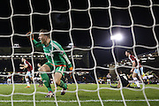 Burnley forward Sam Vokes  scores a goal past Nottingham Forest goalkeeper Dorus de Vries  during the Sky Bet Championship match between Burnley and Nottingham Forest at Turf Moor, Burnley, England on 23 February 2016. Photo by Simon Davies.