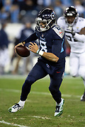 Tennessee Titans quarterback Marcus Mariota (8) runs the ball during the week 14 regular season NFL football game against the Jacksonville Jaguars on Thursday, Dec. 6, 2018 in Nashville, Tenn. The Titans won the game 30-9. (©Paul Anthony Spinelli)
