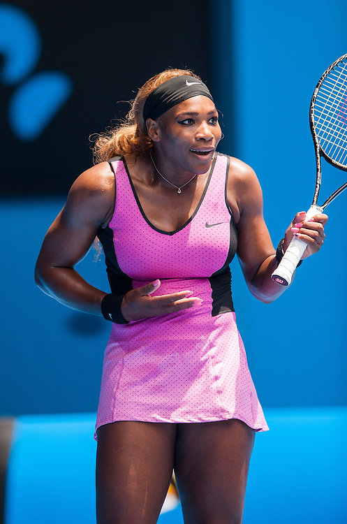 Serena Williams (USA) defeated V. Dolonc (SRB) 6-1, 6-2 during day three play of the 2014 Australian Open. Temperatures in Melbourne's Rod Laver Arena are reaching 43 C /109.4 F in a predicted four day long heat wave to the southern coast of the continent. Serena Williams at play in the Australian Open in Melbourne, Victoria, Australia