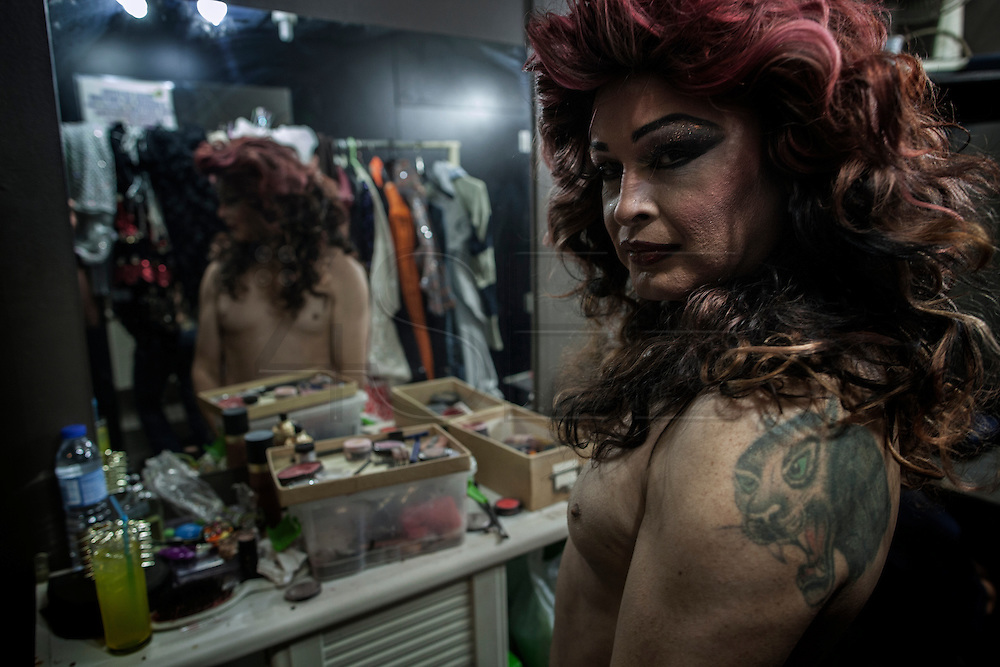 "Suelly Cadillac and Alan yang in the bar backstage ""Margem Sul"" in Almada, preparing for the transvestites show"