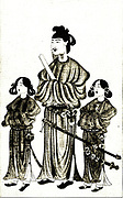 The prince Shotoku (572-621 AD) and his two sons. From a seventeenth Century Painting. Prince Sh?toku  (574 – 622), also known as Prince Umayado was a regent and a politician of the Asuka period in Japan. He was a son of Emperor Y?mei and his younger half-sister Princess Anahobe no Hashihito