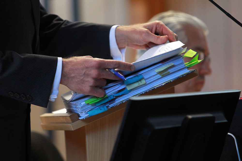 The file being used by Marcus Elliott, counsel for the Commission representing the families at the Canterbury Earthquakes Royal Commission hearing into the collapse of the PGC building on Cambridge Terrace, Christchurch, New Zealand, Wednesday, November 30, 2011. Credit:SNPA / The Press, Dean Kozanic  **POOL**
