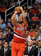 Nov. 21, 2012; Phoenix, AZ, USA; Portland Trail Blazers forward Nicolas Batum (88) puts up a shot during the game against the Phoenix Suns in the first half at US Airways Center. The Suns defeated the Trail Blazers 114-87. Mandatory Credit: Jennifer Stewart-US PRESSWIRE.