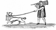 The Constable of the Watch with his dog. In Shakespeare 'Much Ado About Nothing' Act 3 Sc 3 Dogberry is such a officer.  Early 17th century illustration.