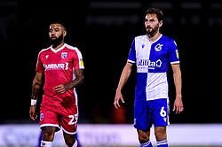 Alex Jakubiak of Gillingham and Edward Upson of Bristol Rovers - Mandatory by-line: Ryan Hiscott/JMP - 17/09/2019 - FOOTBALL - Memorial Stadium - Bristol, England - Bristol Rovers v Gillingham - Sky Bet League One