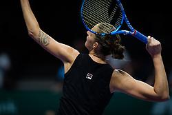 October 21, 2018 - Kallang, SINGAPORE - Karolina Pliskova of the Czech Republic in action during her first match at the 2018 WTA Finals tennis tournament (Credit Image: © AFP7 via ZUMA Wire)