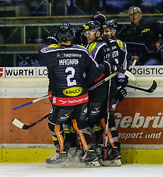 4.10.2015, Messestadion, Dornbirn, AUT, EBEL, Dornbirner Eishockey Club vs HC TWK Innsbruck Die Haie, 8. Runde, im Bild Jubel beim Dornbirner Eishokey Club zum 5:1// during the Erste Bank Icehockey League 8th round match between Dornbirner Eishockey Club and HC TWK Innsbruck Die Haie ers at the Messestadion in Dornbirn, Austria on 2015/10/04, EXPA Pictures © 2015, PhotoCredit: EXPA/ Peter Rinderer