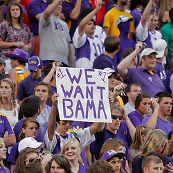 October 22, 2011; Baton Rouge, LA, USA; LSU Tigers fans hold up a sign following a win over the Auburn Tigers at Tiger Stadium. LSU defeated Auburn 45-10. Mandatory Credit: Derick E. Hingle-US PRESSWIRE / © Derick E. Hingle 2011