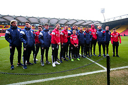 Bristol City pose with mascot for the day at Watford - Mandatory by-line: Robbie Stephenson/JMP - 06/01/2018 - FOOTBALL - Vicarage Road - Watford, England - Watford v Bristol City - Emirates FA Cup third round proper