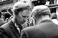 Bloodied but alive - a survivor at the scene of Provisonal IRA no warning car bomb explosion in Lower Donegall Street, Belfast, in which seven people died and 130 were injured. Four of the dead were binmen. NI Troubles. Ref: 19720320009.<br /> <br /> Copyright Image from Victor Patterson, 54 Dorchester Park, Belfast, UK, BT9 6RJ<br /> <br /> t1: +44 28 9066 1296 (from Rep of Ireland 048 9066 1296)<br /> t2: +44 28 9002 2446 (from Rep of Ireland 048 9002 2446)<br /> m: +44 7802 353836<br /> <br /> victorpattersonbelfast@gmail.com<br /> victorpatterson@me.com<br /> <br /> www.victorpatterson.com<br /> <br /> Please see my Terms and Conditions of Use at https://www.victorpatterson.com/page2<br /> It is IMPORTANT that you familiarise yourself with them.<br /> <br /> Images used on the Internet incur an additional cost and must be visibly watermarked i.e. © Victor Patterson within the body of the image and copyright metadata must not be deleted. Images used on the Internet have a size restriction of 4kbs and are chargeable at rates available at victorpatterson.com.<br /> <br /> This image is available only for the use of the download recipient i.e. television station, newspaper, magazine, book publisher, etc, and must not be passed on to any third party. It is also downloaded on condition that each and every usage is notified within 7 days to victorpatterson@me.com<br /> <br /> The right of Victor Patterson (or the named photographer) to be identified as the author is asserted in accordance with The Copyright Designs And Patents Act (1988). All moral rights are asserted.