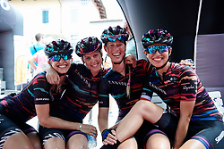 Alexis Ryan (USA), Tiffany Cromwell (AUS). Alice Barnes (GBR) and Kasia Niewiadoma (POL) pose for a photo at sign on at Giro Rosa 2018 - Stage 10, a 120.3 km road race starting and finishing in Cividale del Friuli, Italy on July 15, 2018. Photo by Sean Robinson/velofocus.com