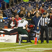 26 November 2016: The San Diego State Aztecs football team closes out the season at home against Colorado State.  San Diego State wide receiver Micah Holder scores a touchdown pass in the second quarter. The Aztecs trail the Rams 42-24 at halftime. www.sdsuaztecphotos.com