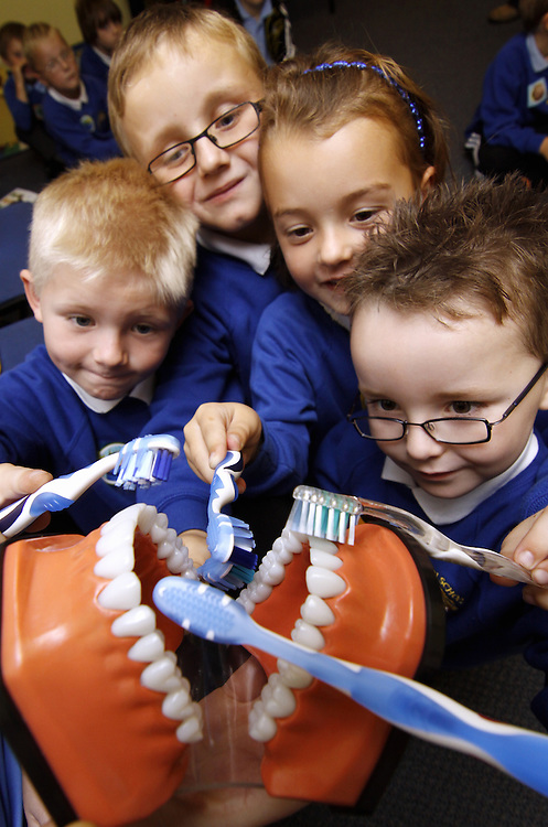 Children form Netherton Infants School, Maryport visit the Alneburgh House dental practice as part of a science project about health and growth...Pics by Ben Russell