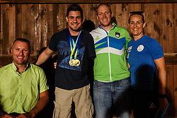 Jana Cander, Gregor Gracnar, Darko Duric and Grega Nahtigal during reception of Slovenian paralympic swimmer Darko Duric after getting gold and bronze medal at swimming European Championship, Podbrezje, 22th of August, Slovenia Photo by Grega Valancic / Sportida