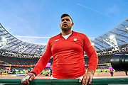 Great Britain, London - 2017 August 06: Konrad Bukowiecki (Gwardia Szczytno) of Poland competes in men&rsquo;s shot put final during IAAF World Championships London 2017 Day 3 at London Stadium on August 06, 2017 in London, Great Britain.<br /> <br /> Mandatory credit:<br /> Photo by &copy; Adam Nurkiewicz<br /> <br /> Adam Nurkiewicz declares that he has no rights to the image of people at the photographs of his authorship.<br /> <br /> Picture also available in RAW (NEF) or TIFF format on special request.<br /> <br /> Any editorial, commercial or promotional use requires written permission from the author of image.