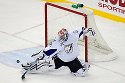 March 7, 2008; Newark, NJ, USA; Tampa Bay Lightning goalie Karri Ramo (31) makes a save during the third period at the Prudential Center in Newark, NJ. The Devils defeated the Lightning in overtime 2-1 on a goal by New Jersey Devils left wing Patrik Elias (26).