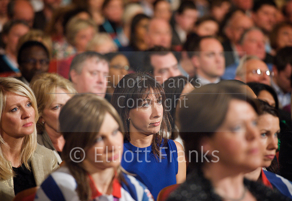 Conservative Party Conference, ICC, Birmingham, Great Britain <br /> 10th October 2012 <br />  Day 4<br /> <br /> Rt Hon David Cameron MP <br /> Prime minister <br /> keynote speech <br /> <br /> Samantha Cameron watching speech <br /> <br /> Photograph by Elliott Franks<br /> <br /> United Kingdom<br /> Tel 07802 537 220 <br /> elliott@elliottfranks.com<br /> <br /> &copy;2012 Elliott Franks<br /> Agency space rates apply